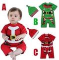 嬰兒連身衣寶寶純棉聖誕造型哈衣+帽子兩件套爬服