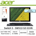 Acer Switch 5 SW512-52-51VN 2-in-1 Laptop i5-7200U processor (Up to 3.1GHz, 3MB L3 cache) 12.0 IN FHD+ 2160 x 1440 IPS 10-Finger Multi-Touch Display with Active Stylus support Windows 10 Home(64-bit) Intel HD Graphics 620 8GB DDR3 RAM, 256GB PCIe NVMe SSD