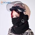 連帽口罩圍巾(雙層長版)-經典黑-騎車保暖/雙刷毛/頭部保暖/口罩/面罩/圍巾/頭罩/頭套/機車保暖/防寒