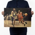 懷舊復古經典牛皮紙海報壁貼咖啡館裝飾畫仿舊掛畫●籃球NBA美國職籃系列-Kobe&Jordan柯比&喬丹