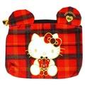 【唯愛日本】14091500019 面紙化妝包-40TH蘇格蘭紅格 三麗鷗 Hello Kitty 凱蒂貓 包包