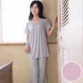 【華歌爾睡衣】冰涼紗 居家休閒 M-LL 短袖睡衣褲裝(點點紫)-舒適睡衣-柔膚手感-快乾特性