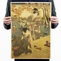 懷舊復古經典牛皮紙海報壁貼咖啡館裝飾畫仿舊掛畫 ●日本浮世繪系列-和風仕女圖