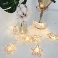 【星語夜空】玫瑰金星星 LED串燈 聖誕燈 派對 居家 陽台 兒童房 商業佈置 電池式(3M線 + 20顆暖色燈)