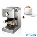飛利浦 Saeco半自動義式咖啡機 HD8327+智慧型厚片烤麵包機HD2582組合