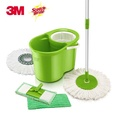 3M Scotch-Brite 2-in-1 Spin Mop Bucket Set with Flat Mop and 2 Microfiber Mop Heads and Mop Pads