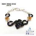 淳貿天然水晶 黑曜岩+黑瑪瑙+黃水晶純銀手鍊(B01-88) (5折)