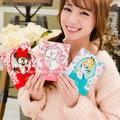 【Disney 】時尚皮革彩繪三折鏡/隨身鏡/折疊化妝鏡-女孩系列