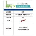 暢玩卡 - 日本旅遊上網卡7日 網卡/日本旅遊/出國 7GB高速上網