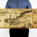 懷舊復古經典牛皮紙海報壁貼咖啡館裝飾畫仿舊掛畫●古地圖系列-海盜巢穴