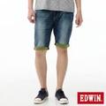 EDWIN 迦績褲JERSEYS雙色反折牛仔短褲-男-石洗綠