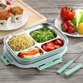 304不鏽鋼分格便當盒,送配色筷子、湯匙組,日式便當盒,2單層1分隔,餐盒,飯盒,可微波餐盒【宸豐】