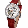 ARBUTUS SKELETON AUTO RED LEATHER STRAP AR910SWR