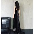 氣質女神女黑色法式復古拖地長裙紅毯走秀酒會復古絲絨連衣裙小禮服