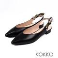 KOKKO - 觸及真心尖頭蝴蝶結真皮平底鞋 - 亮面黑