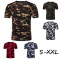 S-XXL Men Casual Short Sleeve Compression Tshirt Mens Fitness Tops Camouflage Workout Tshirt