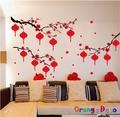 紅燈籠 新年 過年 DIY組合壁貼 牆貼 壁紙 無痕壁貼 室內設計 裝潢 裝飾佈置【橘果設計】