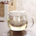 免運~~~ 泡茶杯 小北家加厚三件式陶瓷過濾花茶杯泡茶杯耐熱玻璃杯茶水分離杯子 夢藝家