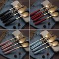 陶典 創意鍍金色釉陶瓷手柄304不銹鋼叉勺筷子便攜式餐具套裝