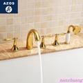 德國 鈦金色仿古浴缸水龍頭冷熱全銅 分體淋浴浴缸邊龍頭五件套裝