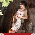【水水女人國】~另人驚艷。藝術極品中國風~金色年華。100%真蠶絲高貴時尚包袖短旗袍
