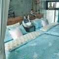 【尋找夢奇地藍】100%精梳棉 四件式雙人床包被套組