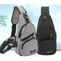 韓版休閒騎行包USB充電運動帆布背包胸包時尚旅行單肩斜背包   卡布奇諾