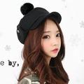 日韓新款潮流 兔毛球球毛呢平頂軍帽 護耳雷鋒帽-單售