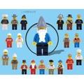 20款一組 DIY卡通人物小人物多種職業角色公仔小積木/與樂高積木完全相容