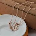 【米蘭精品】玫瑰金純銀項鍊鏤空招財葫蘆飾品