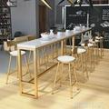北歐實木吧台桌椅組合休閒奶茶店咖啡廳桌椅酒吧台靠牆家用高腳桌 WD初語生活館