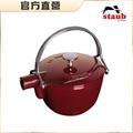 【Staub】圓型鑄鐵茶壺-深紅色