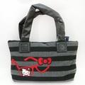【唯愛日本】14100100005 聯名棉質手提包-條紋灰 三麗鷗 Hello Kitty 凱蒂貓 包包 肩背包