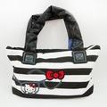 【唯愛日本】14100100004 聯名棉質手提包-條紋黑 三麗鷗 Hello Kitty 凱蒂貓 包包 肩背包