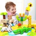 木製玩具 創意拼裝木製大顆動物積木遊戲組(12m+)