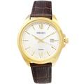 SEIKO手錶 精工表 SUR284P1 日期 金框咖啡色皮帶男錶