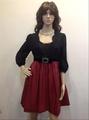 設計師零碼服飾特賣-Bernini黑蕾絲紅緞洋裝