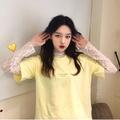 字母印花寬鬆短袖T恤+內搭長袖蕾絲衫兩件式上衣(分開下單)女裝女生衣著正韓韓國出清衣服閨蜜裝特價MOMO327