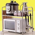 Kitchen microwave oven shelf stainless steel 2 layer rack finishing microwave oven rack double oven rack storage