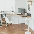 Peachy Life 歐風極致多功能L型工作桌/電腦桌-(2色可選)原木桌搭白腳
