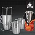 【【蘋果戶外】】KAZMI K3T3K044RD 不鏽鋼雙層馬克杯4入組 綠色 登山/戶外/啤酒杯/飲料杯/附收納袋