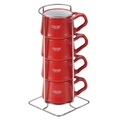 【DANSK】陶瓷迷你馬克杯120ml-4件組-紅色