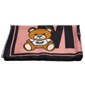 MOSCHINO 經典小熊玩偶圖案造型羊絨混絲披肩/圍巾(粉X黑)