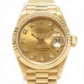 勞力士日期確切手錶表鐘表女士K18YG'(750)黄色黄金x鑽石'(10P)(69178G)  ROLEX BRANDOFF名牌斷開名牌名牌鐘表名牌手錶 BRANDOFF