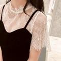 蕾絲打底衫女夏短袖內搭鏤空吊帶裙外搭短款透明薄紗透視紗網上衣