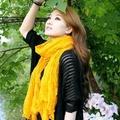 太妃糖 韓版秋冬款純色皺褶加大圍巾(姜黃)