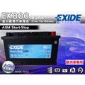 全動力-EXIDE 歐規進口 汽車電瓶 免加水 AGM EK800 (80Ah)起停系統專用 AUDI A7 Q5 柴油