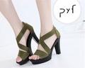 Pyf ♥ 新款歐美風 魚口羅馬交叉 粗高跟 防水台涼鞋 43 大尺碼女鞋