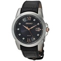 Seiko Mens Le Grand Sport Solar Watch With Black Leather Strap And Diamond Accents - intl