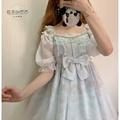✸㍿✴日系Lolita雪紡泡泡袖百搭短袖一字肩蕾絲花邊打底內搭軟妹襯衣